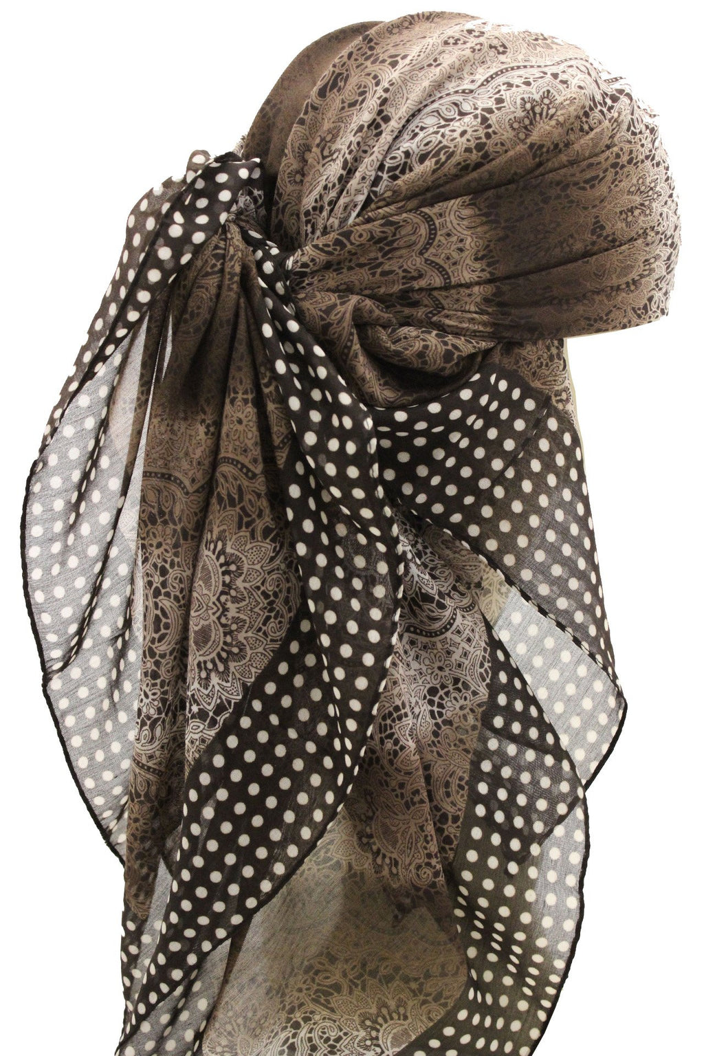 Deresina Everyday square chemo headscarf brown cream