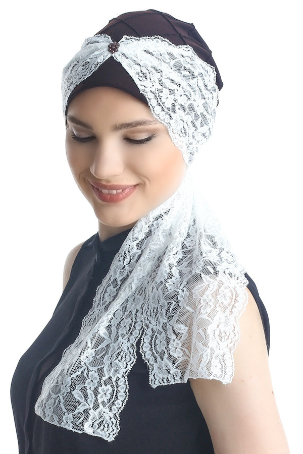 Deresina diamond patterned chemo turban brown cream