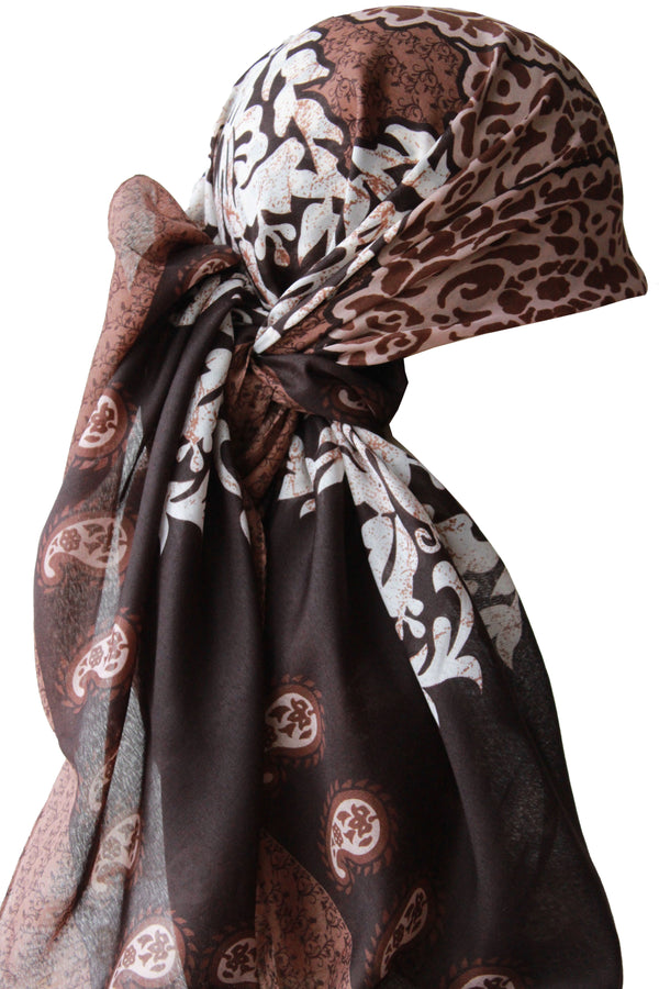 Large Square Head Scarf  - Brown Cream