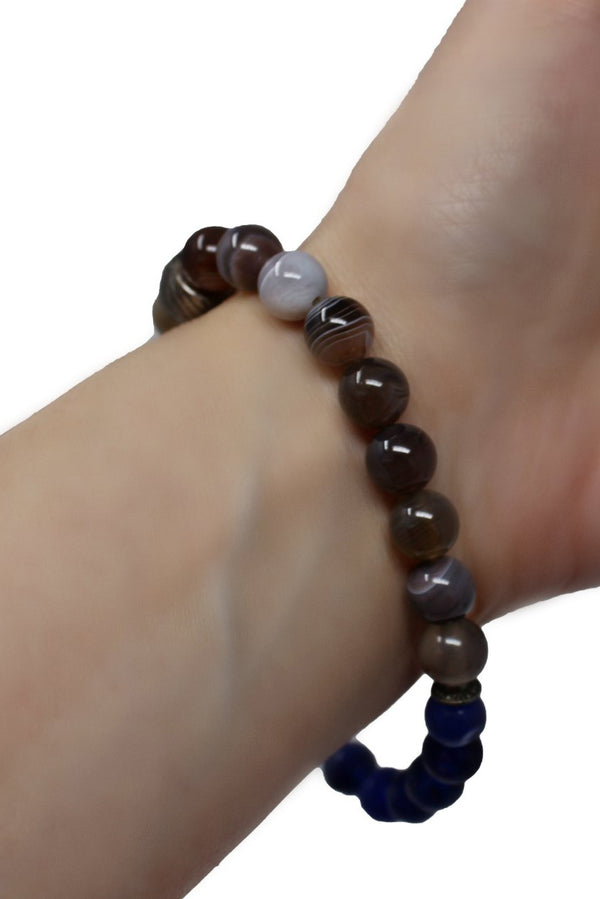 Energy Balance Semi Precious Gemstone Bracelet - Brown Onyx