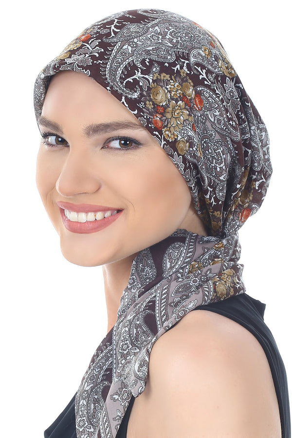 Easy Tie Head scarf  (Brown Paisley)