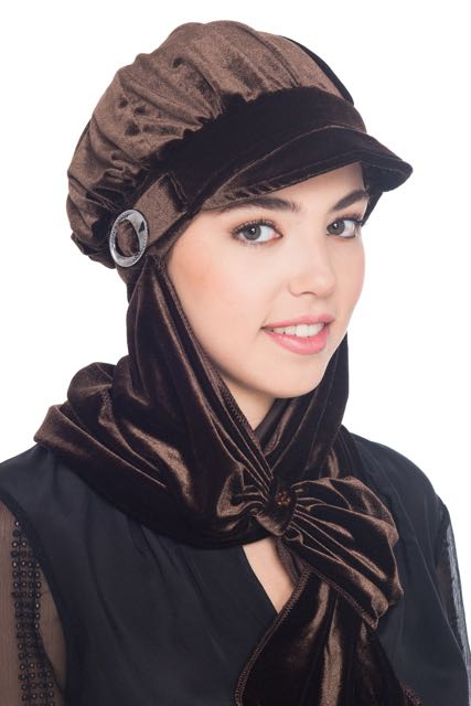 Velour Hat with Attached Scarf - Brown