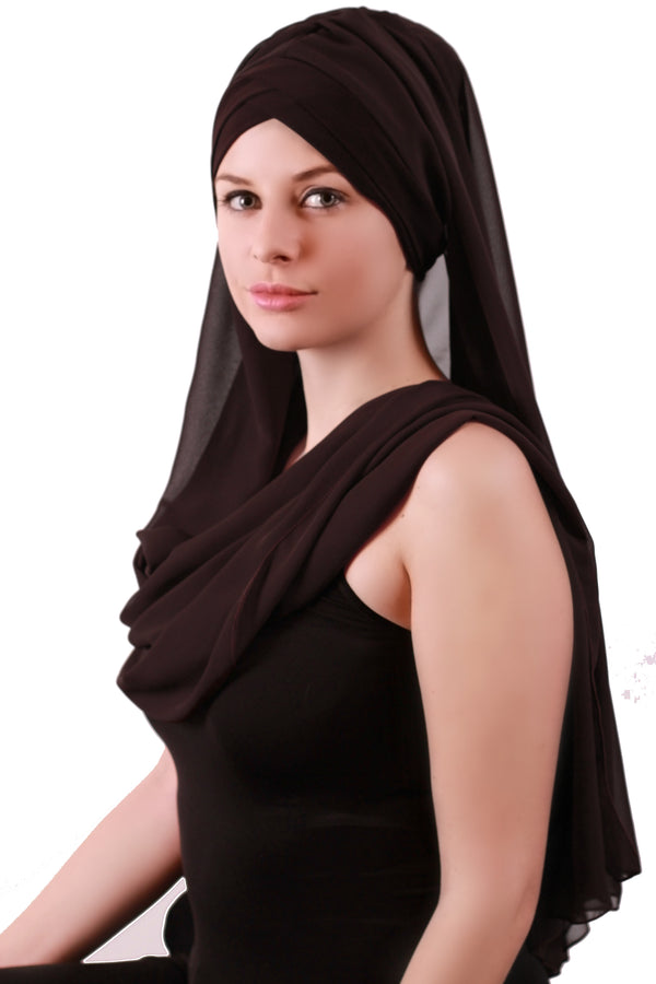 Chiffon Headwear with Long Schal -  Brown