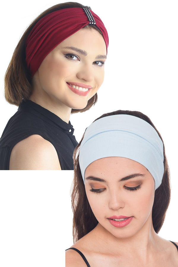 Plain & Jewelled Headband Set of Two Burgundy/Sky