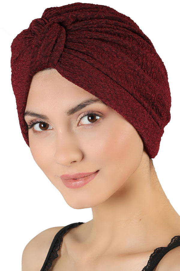 Brocade W Pattern Turban  - Burgundy