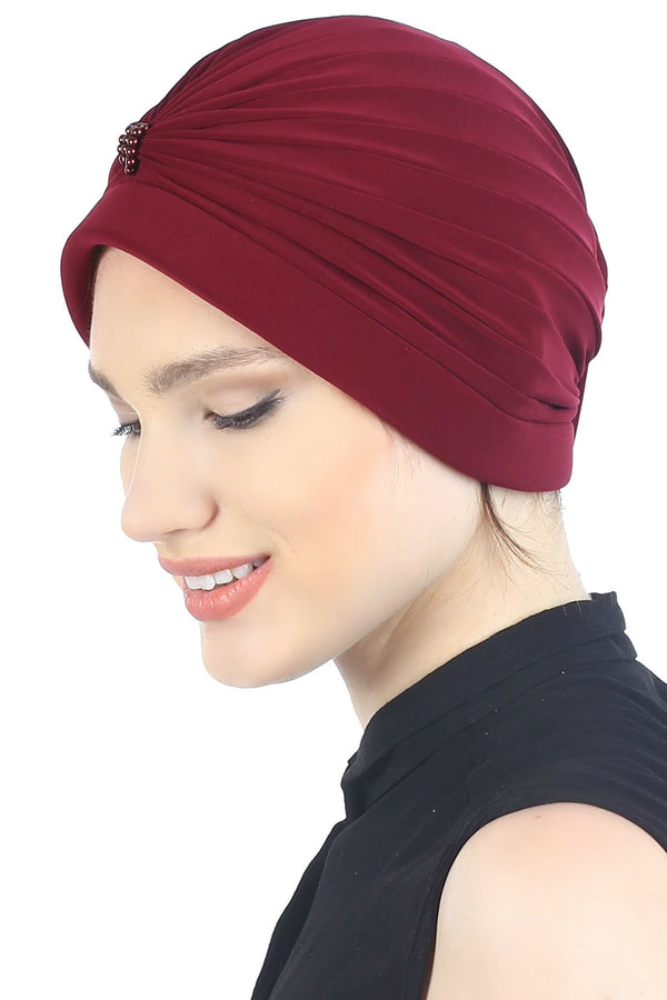 Deresina Pearl detail turban for cancer patients burgundy