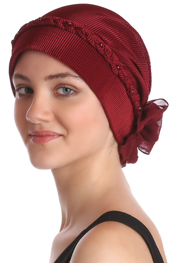Deresina Braided beaded hat for hairloss for hairloss burgundy