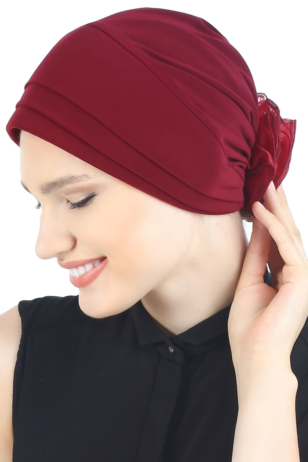 Deresina Padded hat for cancer patients burgundy