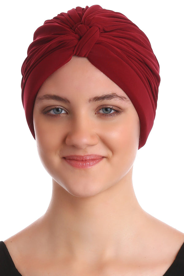 Deresina Pleated w pattern turban for chemo burgundy