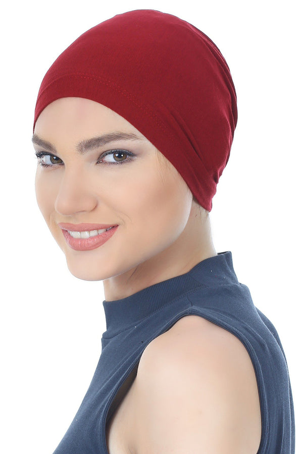 Deresina Essential cotton chemo cap burgundy