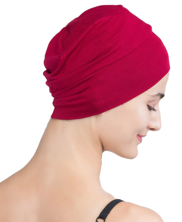 Wrap-fit Sleep Cap - Burgundy