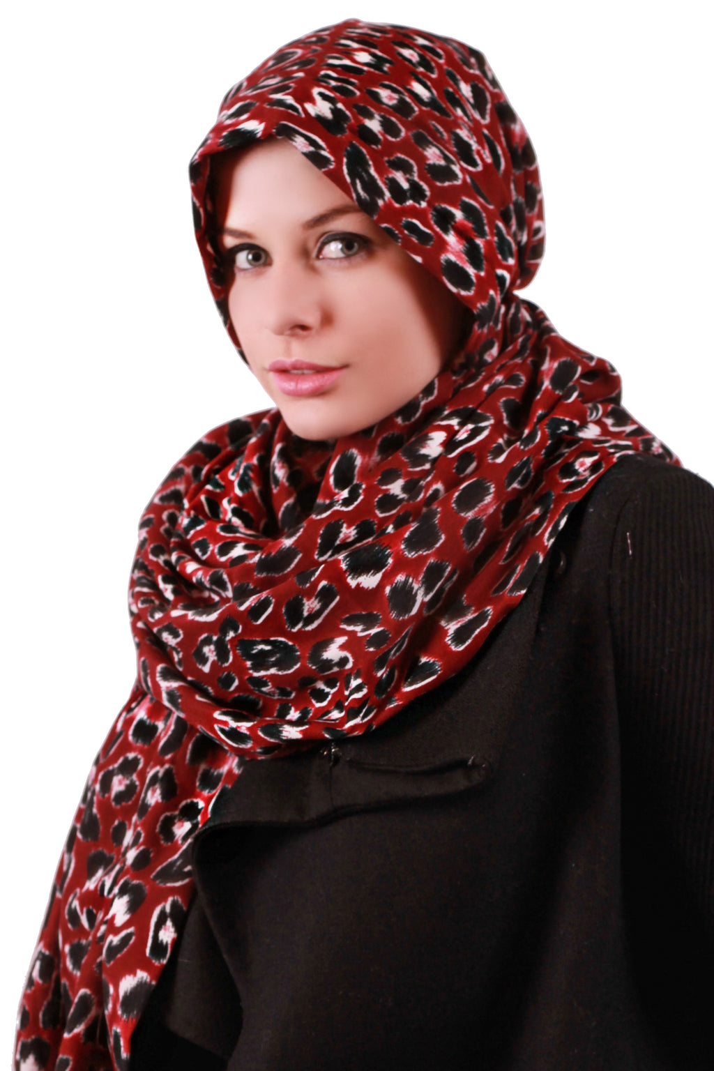 Hooded Headscarf - Burgundy/ Black Animal Print