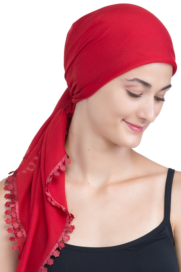 Flower Edges Soft Square Head Scarf  - Burgundy