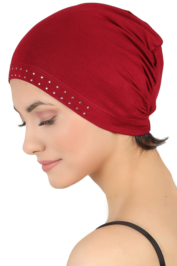 Jewelled Front Essential Cap - Burgundy