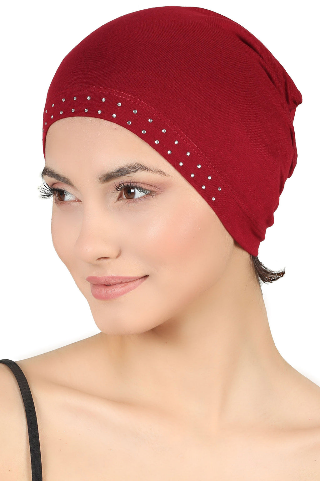 Jewelled Front Essential Cap-Burgundy