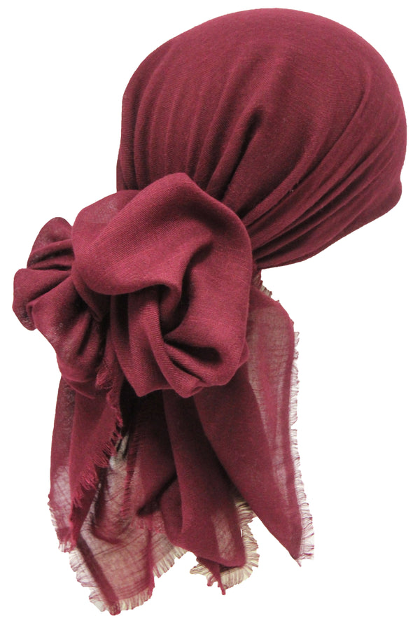 Seasonal  Head Scarf - Burgundy with Edges