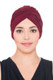 Plisse Cross Turban - Burgundy