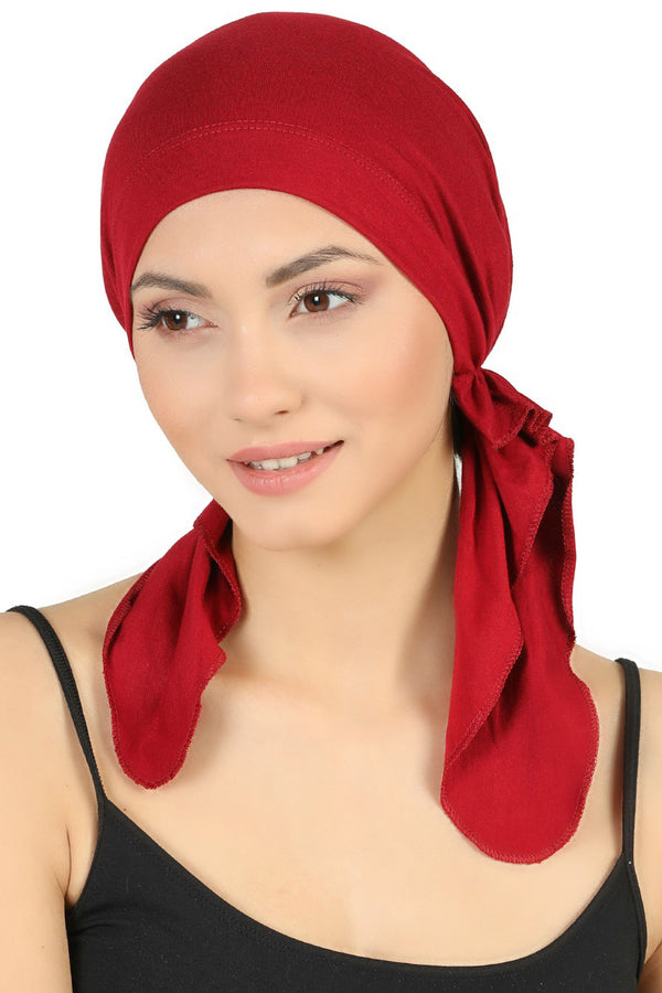 Pre tied Cotton Bandana - Burgundy