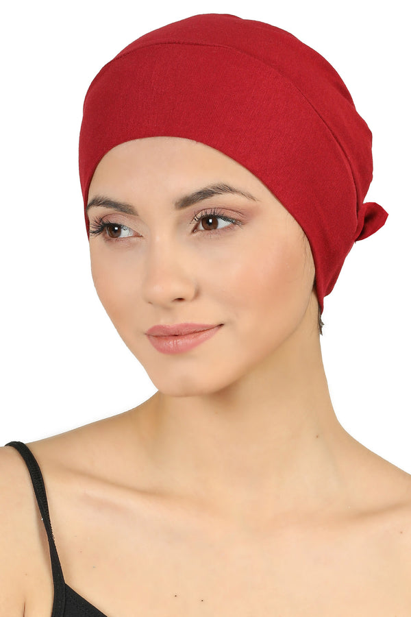 Double Layer Tie Back Cotton Cap - Burgundy