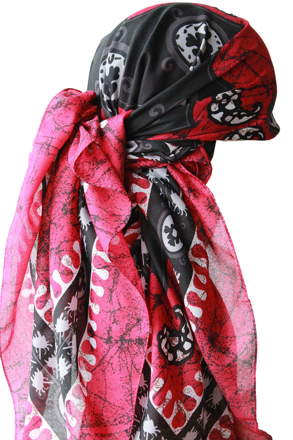 Large Square Head Scarf  - Burgundy Black