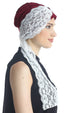 Deresina diamond patterned chemo turban burgundy cream