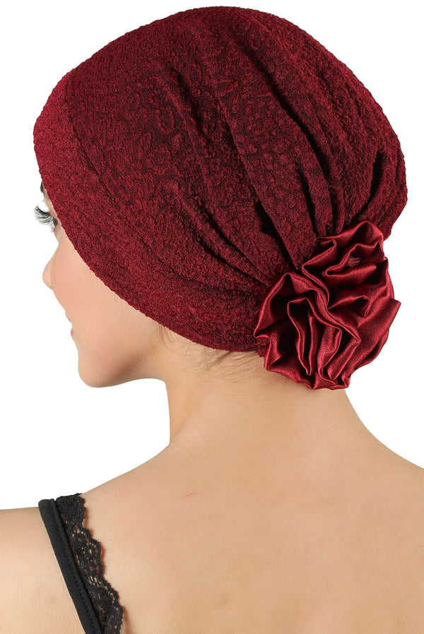 Brocade Headwear with Satin Rose - Padded Front Burgundy