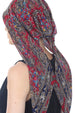 Easy Tie Head Scarf  (Burgundy Paisley)