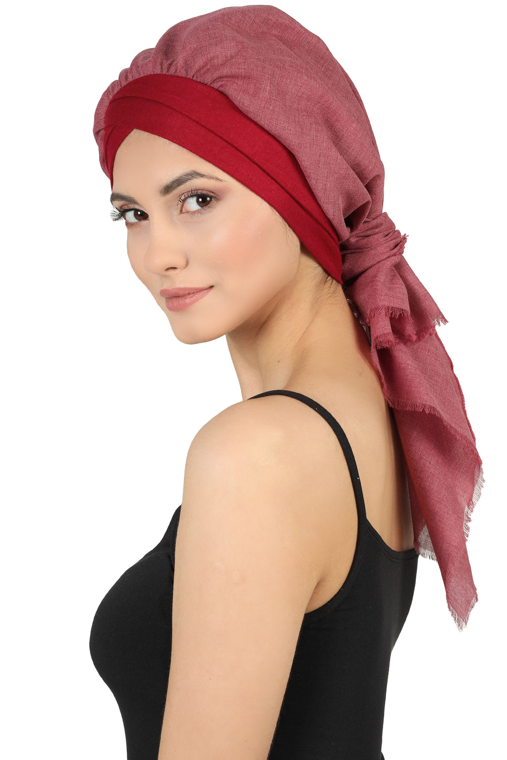 W Front Cap with Attached Scarf (Burgundy Plain)