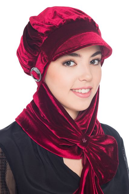 Velour Hat with Attached Scarf - Burgundy