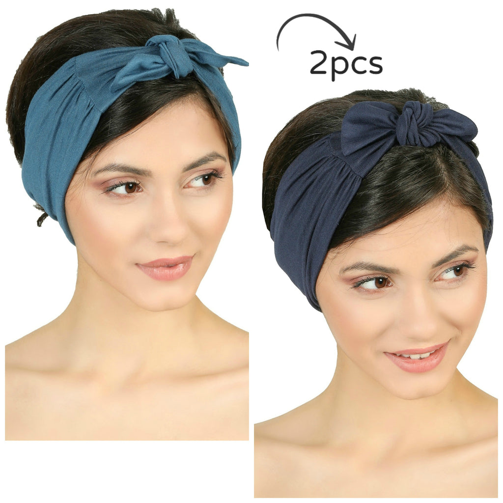Bow Tie Headband-Carolina/Denim