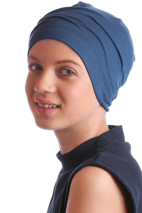 Deresina teen beanie for hairloss caroline blue