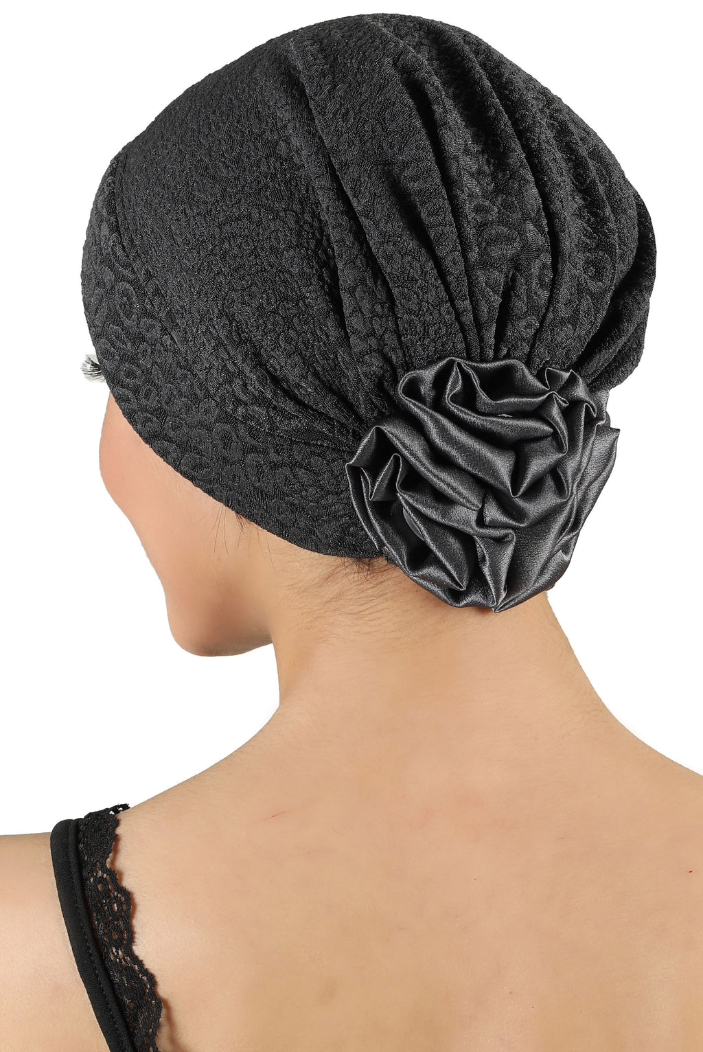 Brocade Headwear with Satin Rose - Padded Front Charcoal