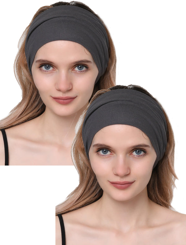 Elasticated Stretchy Headband Set of Two - Charcoal