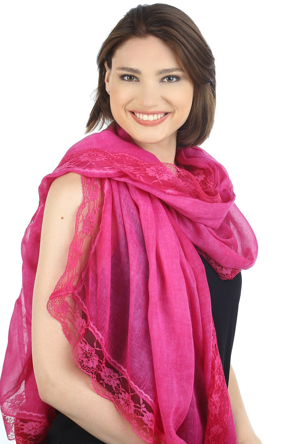 Pure Cotton Oversize Scarf with Lace Edges- Cherry