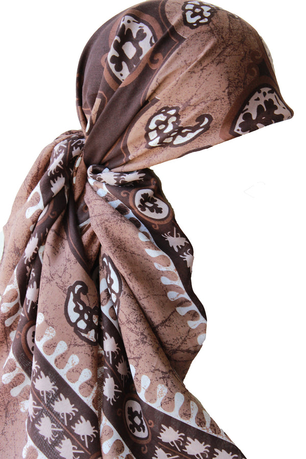 Large Square Head Scarf  - Cacao Cream