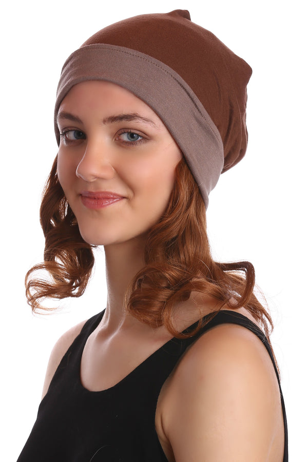 Reversible Beanie with Short Wavy Hair- Cacao/Umber