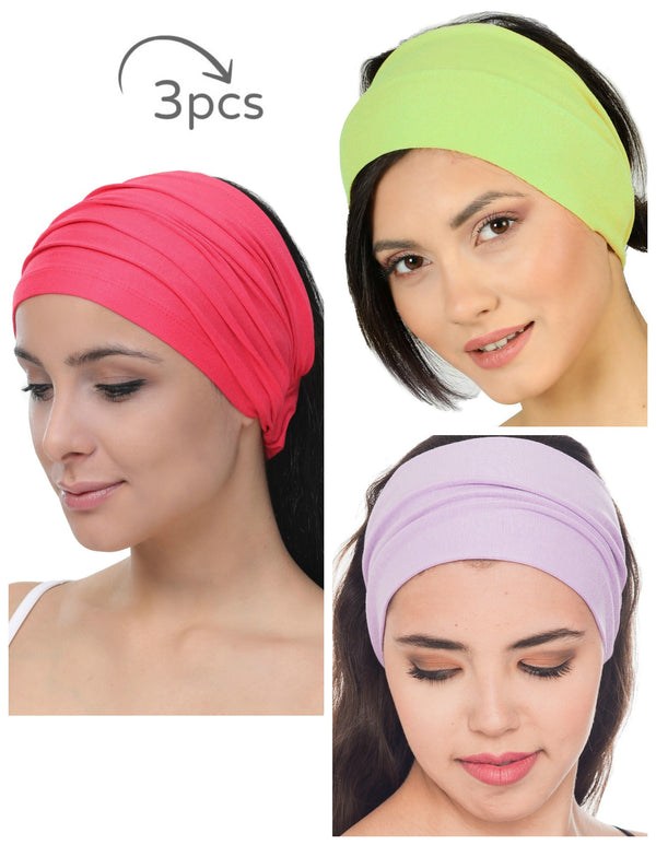 3 Pieces Headband -Fuchsia-Green-Lila