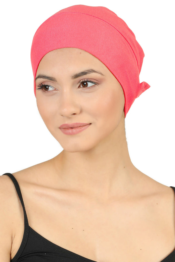 Double Layer Tie Back Cotton Cap - Coral