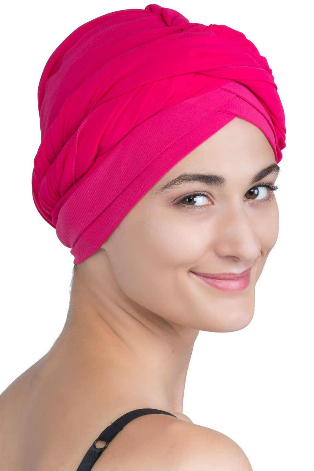Chiffon Headwear with Long Schal -  Coral