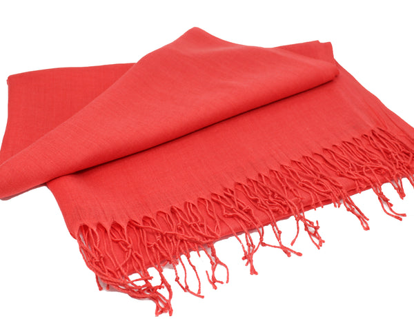 Solid Fringed Long Scarf -Coral