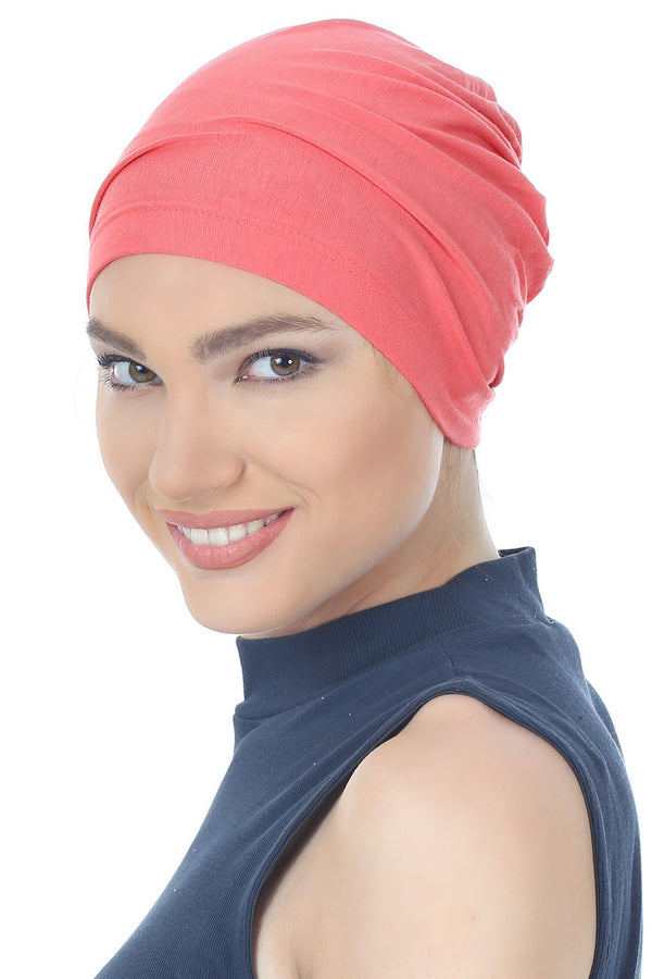 Deresina Essential cotton chemo cap brick pink