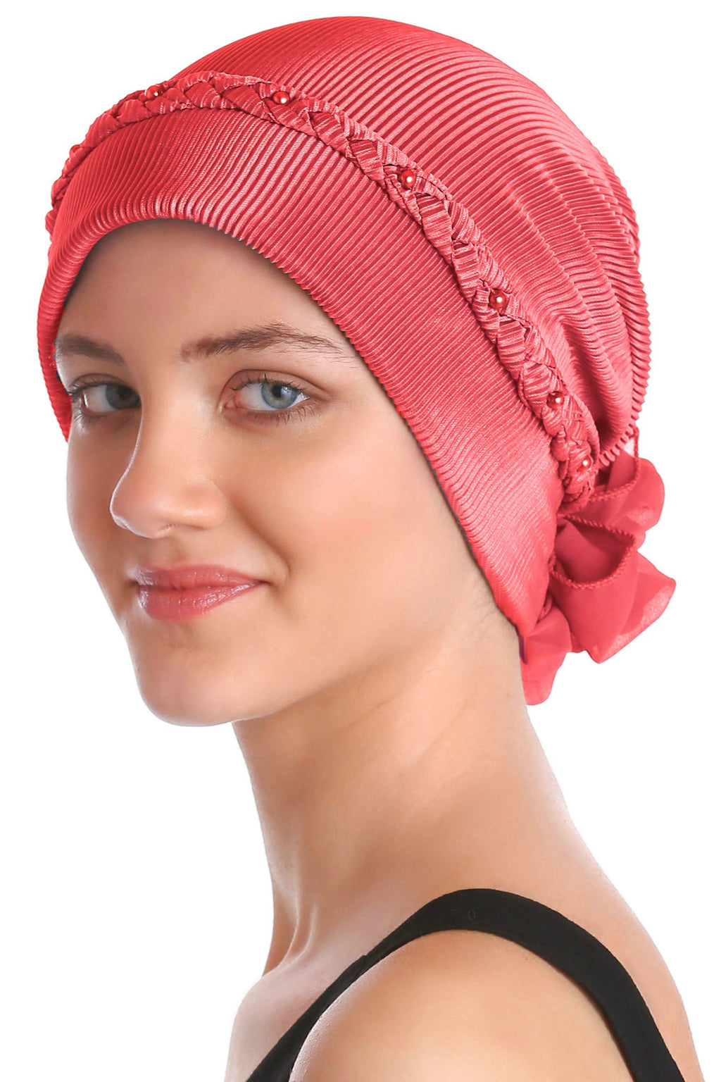 Deresina Braided beaded hat for hairloss for hairloss coral red