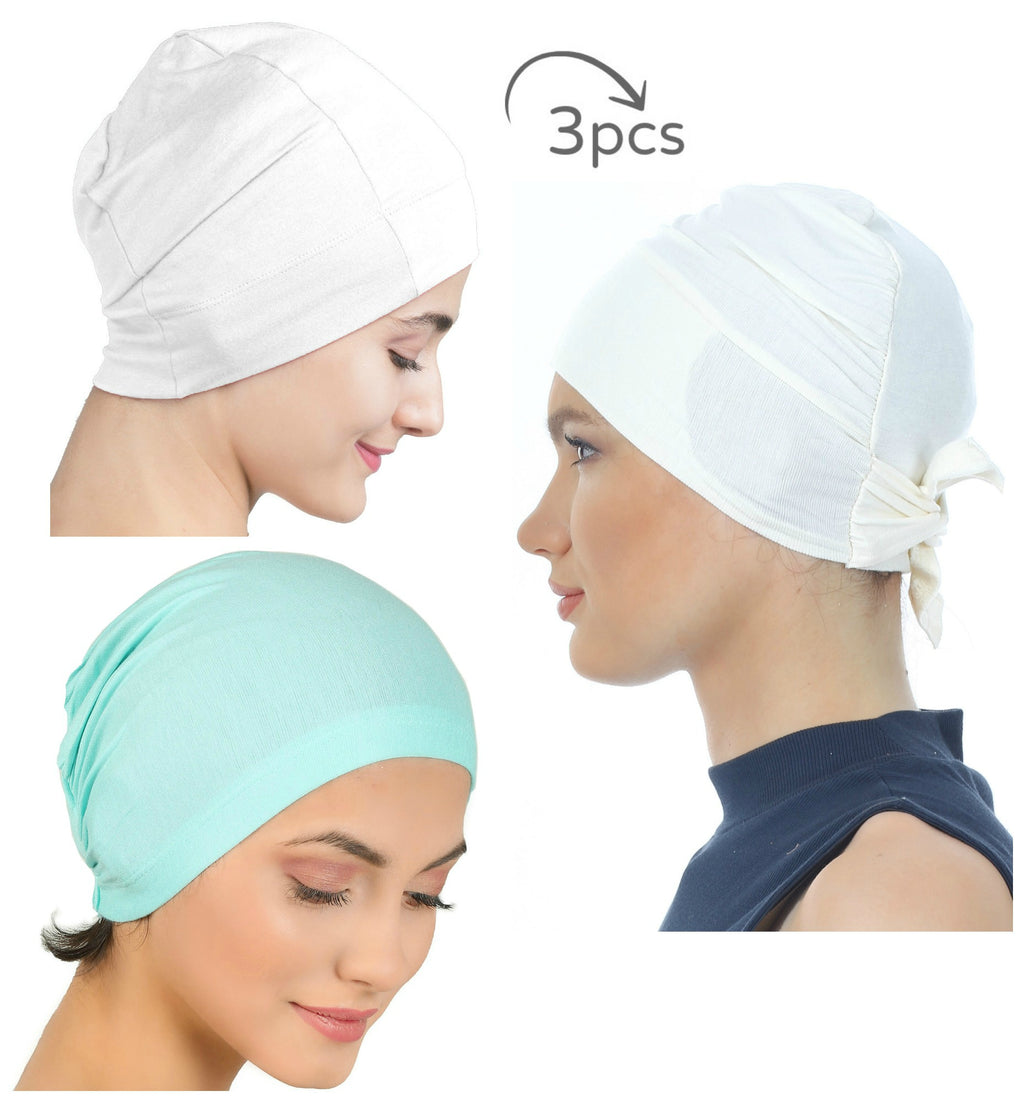 Essential Cotton Cap 3 Pieces  (Cream-White-Spring))
