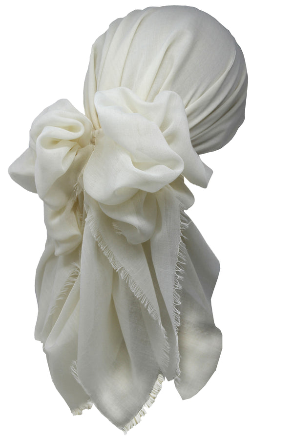 Ultra Soft Head Scarf - Cream with Edges