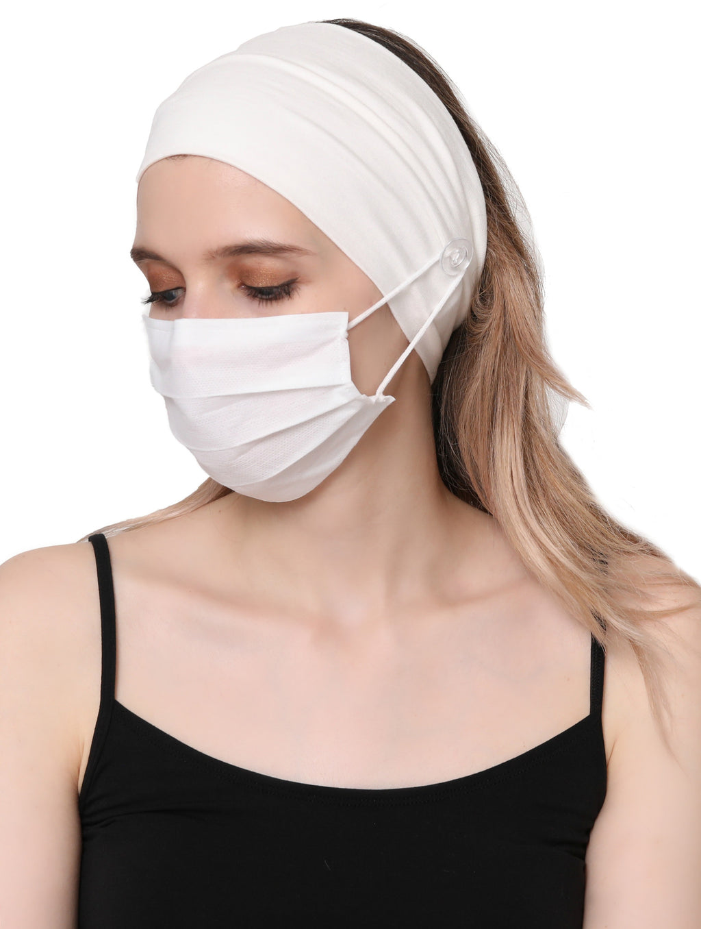 Clear Button Plain Headband for Mask-Cream
