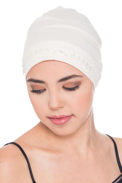 Deresina Lace detail sleep cap for hair loss cream