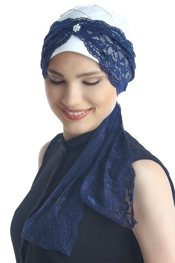 Deresina diamond patterned chemo turban cream navy