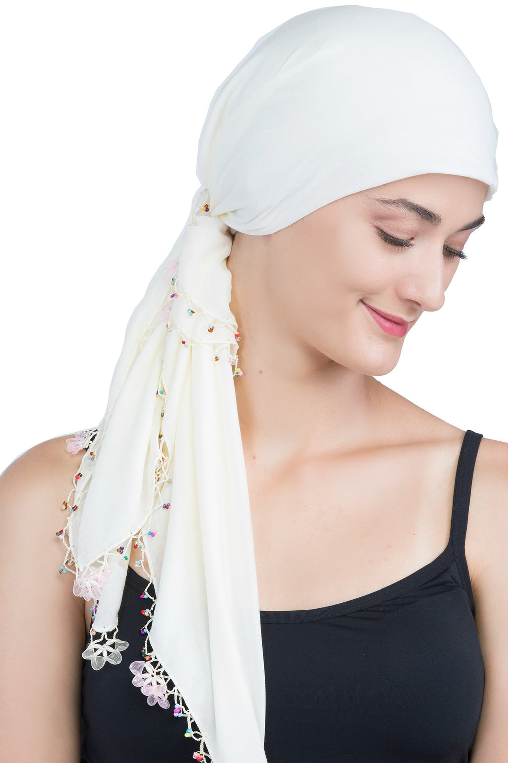 Beaded Square Head Scarf - Cream with Pink Ribbon Flowers