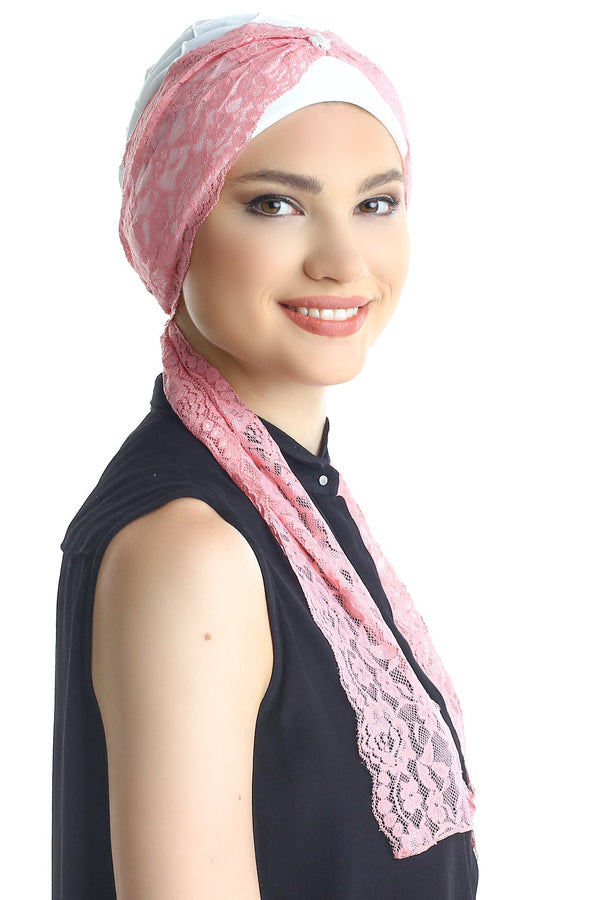 Deresina diamond patterned chemo turban cream pink
