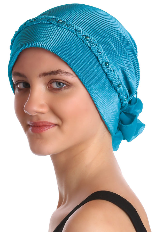 Deresina Braided beaded hat for hairloss for hairloss cyan